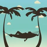 relax in hammock silhouette - 222880022