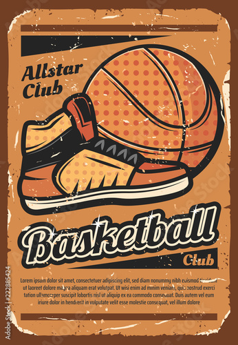 Basketball team sport poster with ball - 222885424