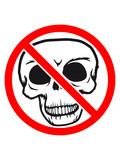 kreis sterben verboten schild zeichen symbol durchgestrichen schädel skelett tot tod knochen horror halloween maske kopf totenkopf böse comic cartoon clip - 222886804
