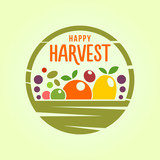 Basket with harvest - stylized cut out icon - 222891290