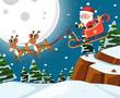 Santa on sleigh with reindoors night scene