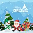 Merry Christmas santa and snowman