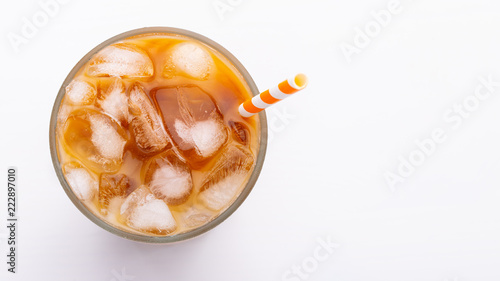 Ice latte top view close up on white background and clipping paths. With copy space