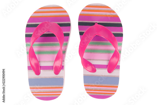b3b8a9e10530 Vacation beach sandals. Colorful flip-flops isolated on white background.