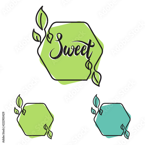 Sweet Hexagon Line Leaf Nature Organic Frame Banner | Buy Photos ...