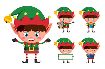 Christmas elf vector character set. Young boy elves cartoon charcaters holding christmas elements and objects isolated in white background. Vector illustration.
