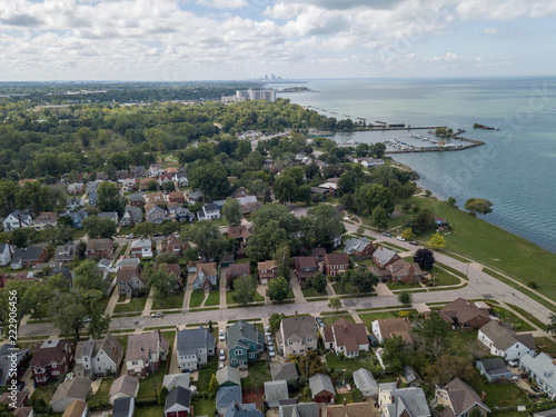 Euclid Aerial view with Cleveland, Ohio in background - 222906456