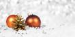 Christbaumkugeln in Orange mit Tannenzapfen und Perlen im Schnee, Header