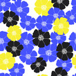 seamless pattern with decorative flowers, blue and yellow - 222909245