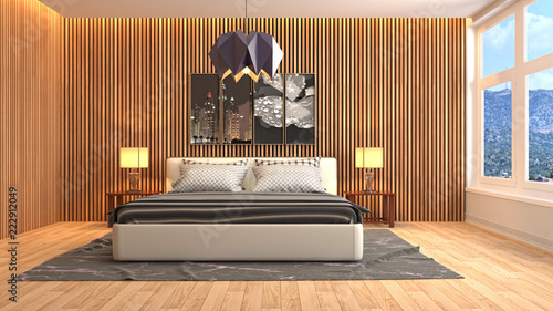 Wnętrze sypialni. 3d ilustracja