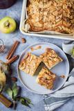 Autumn Apple Pie. Norwegian Biscuit Pie on stone concrete table background. Top view. - 222913012