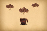 Creative concept photo of a cup of coffee and cloud with rain made of coffee beans. - 222913295