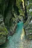 Scenic landscape in Tolmin gorge in Slovenia