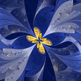 Beautiful fractal flower in stained glass window style. You can use it for invitations, notebook covers, phone case, postcards, cards, wallpapers. Artwork for creative design. - 222919073