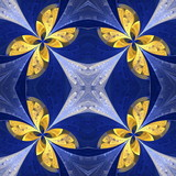 Floral pattern in stained-glass window style. You can use it for invitations, notebook covers, phone cases, postcards, cards, wallpapers. Artwork for creative design. - 222919226