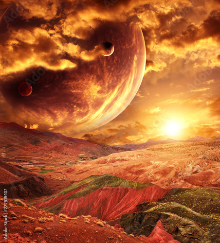 Fantastic landscape with planet, mountains, sunset - 222919407