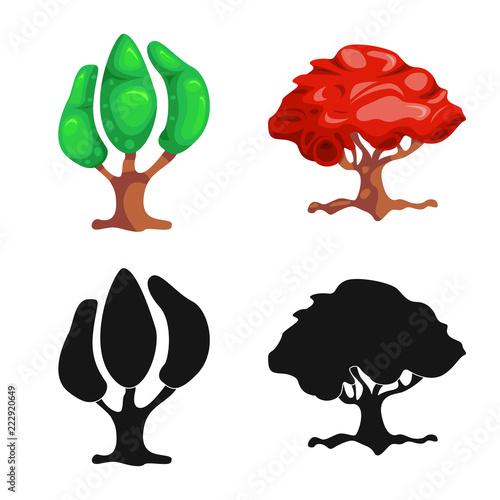 Wektorowa ilustracja drzewa i natury znak. Zestaw ikon drzewa i korony wektor dla akcji.