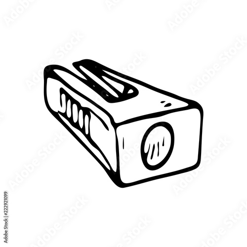 Hand Drawn Pencil Sharpener Doodle Icon Black Sketch Sign Symbol Decoration
