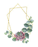 Watercolor vector composition of eucalyptus leaves, succulents and geometric Golden frame. - 222922682
