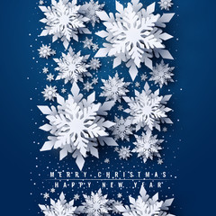 Vector Merry Christmas and Happy New Year greeting card design with white layered paper cut snowflakes on blue background. Seasonal Christmas and New Year holidays paper art banner, poster template © Oksana Kumer