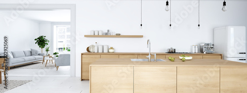 frontal view of modern nordic kitchen in loft apartment. 3D rendering - 222925069