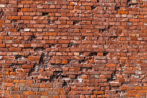 Stein Mauer Alt aus rotem Backsteinen