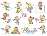 Set of cartoon kids outdoor activities, sports and games