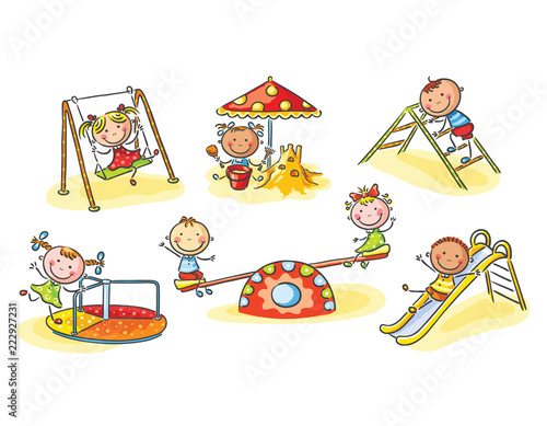 Happy cartoon kids on playground, cartoon graphics, illustration - 222927231