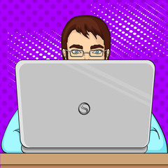 A male programmer works for laptops. IT staff at the computer. Pop art raster. Imitation of the cosiness of style.