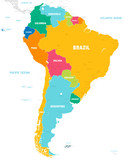 Colorful Vector map of South America - 222932658