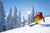 Skier skiing downhill in high mountains against blue sky - 222933081