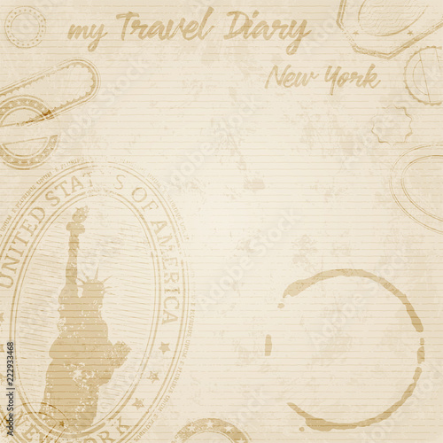 Grunge Travel Diary to new York Template - 222933468