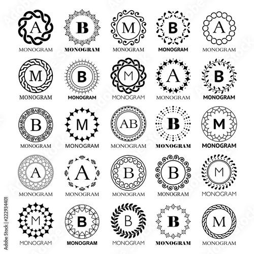 Monogram vector template design - big set. Elegant wedding or ...