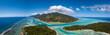 Leinwandbild Motiv Moorea and tahiti island french polynesia lagoon aerial view