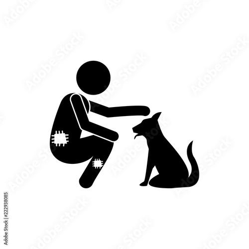 Poor Man And Dog Icon Element Of Poor Man Illustration Premium