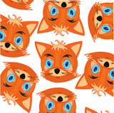 Mug animal fox decorative pattern on white background - 222938233