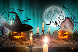 Halloween pumpkins on wooden planks. - 222938824