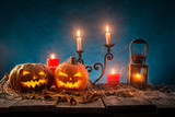Halloween pumpkins on wooden planks. - 222938886