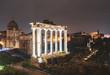Roman Ruins Illuminated at Night