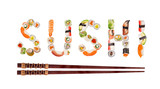 Traditional japanese sushi pieces making inscription. - 222939840