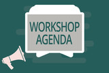 Text sign showing Workshop Agenda. Conceptual photo helps you to ensure that your place stays on schedule. - 222941069