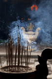 Incence sticks in a Buddhist temple - 222941862