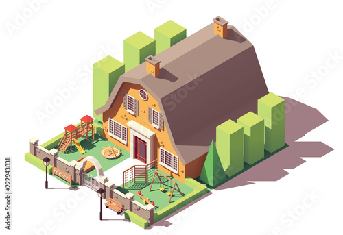 Vector isometric kindergarten