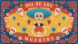 Festive banner of Day of the Dead. Vector illustration with colorful skeleton and skulls on colorful background in flat style. Holiday's name in Spanish.