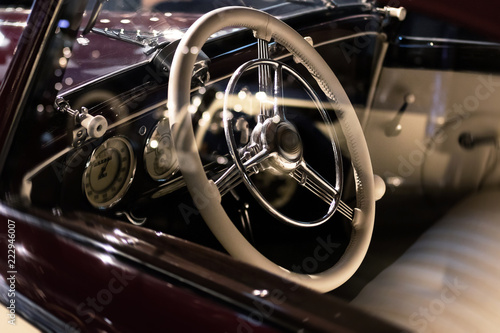 Steering wheel and part of interior of the retro © blackday
