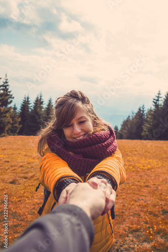 Take me to - concept with couple in nature. © astrosystem