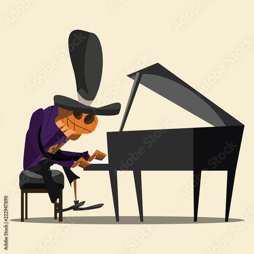pianist pumpkin vector illustration