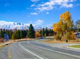 Winding road on a sunny autumn day, Fairlie-Tekapo Road, Canterbury, New Zealand. - 222950618