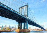 The Manhattan Bridge, New York City, United States. In the background  Manhattan and  Brooklyn Bridge. - 222951213