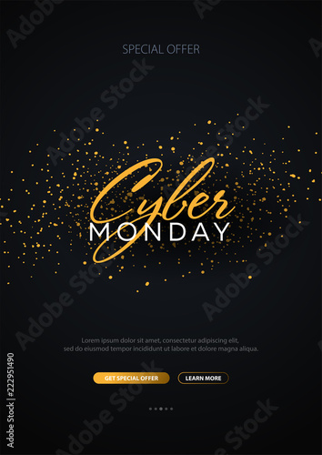 Cyber Monday Sale Calligraphic banner. Vector Illustration.